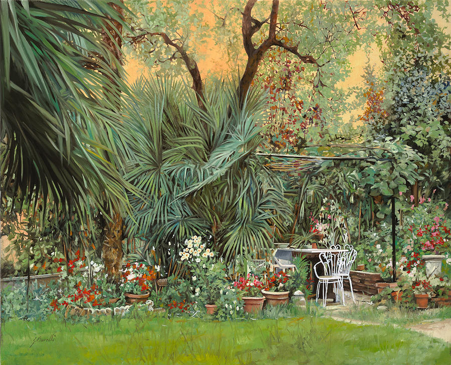 Garden Painting - Our Little Garden by Guido Borelli