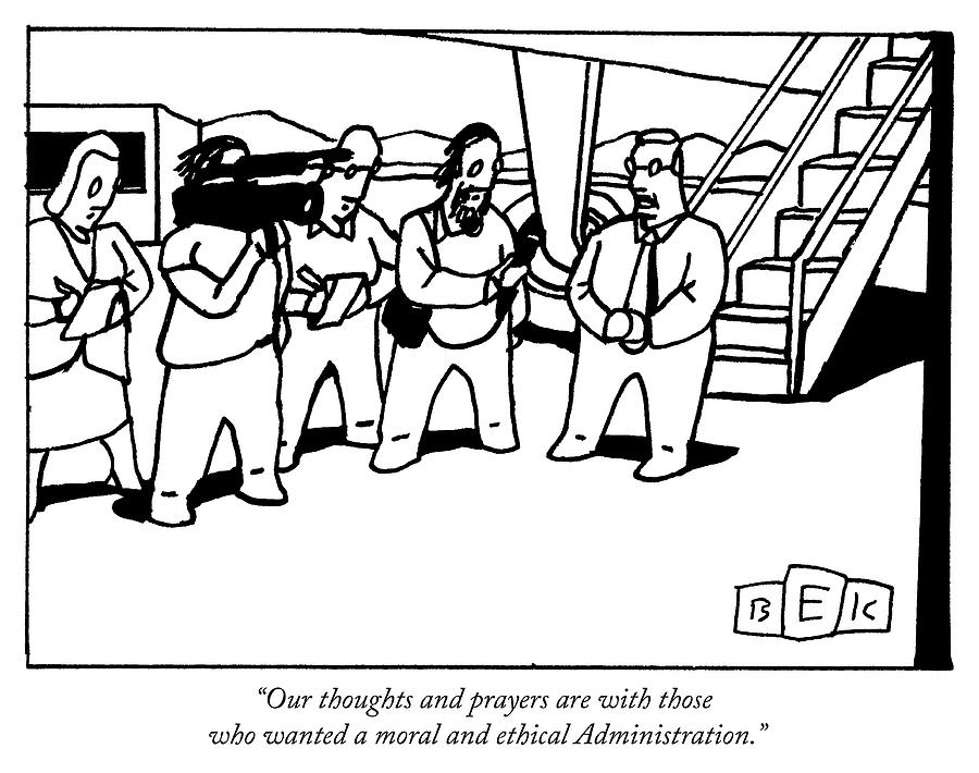 Our thoughts and prayers Drawing by Bruce Eric Kaplan