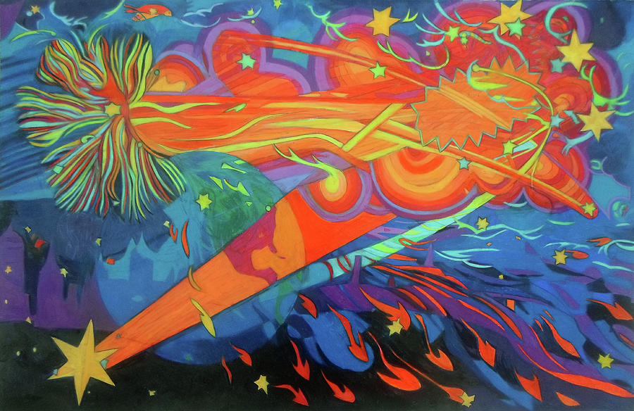 Wildcard Painting - Our Wild Stars by Denise Weaver Ross