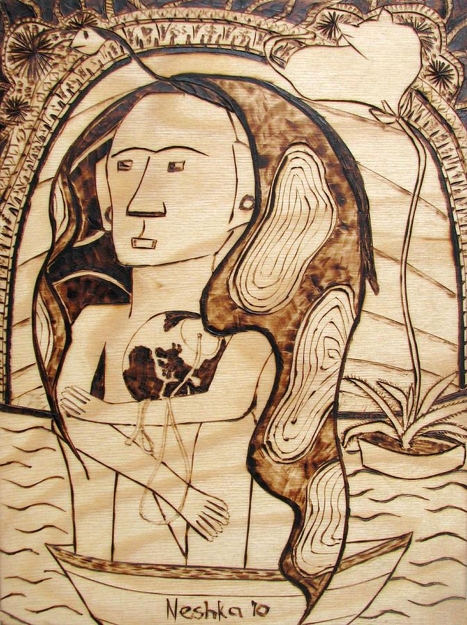 Surrealism Pyrography - Our World No.6 - The Awaken by Neshka Muchalska