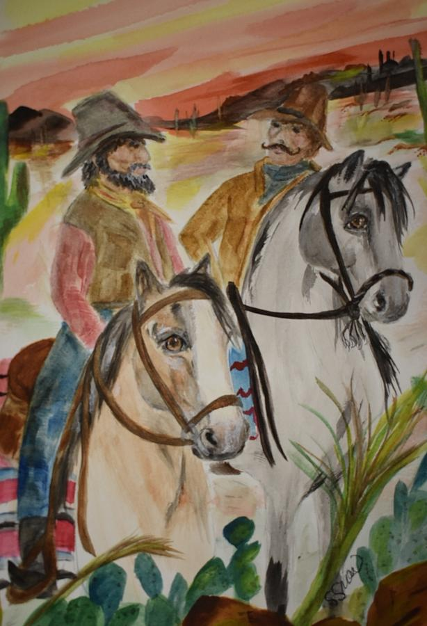 Cowboys Painting - Out For A Ride by Susan Voidets