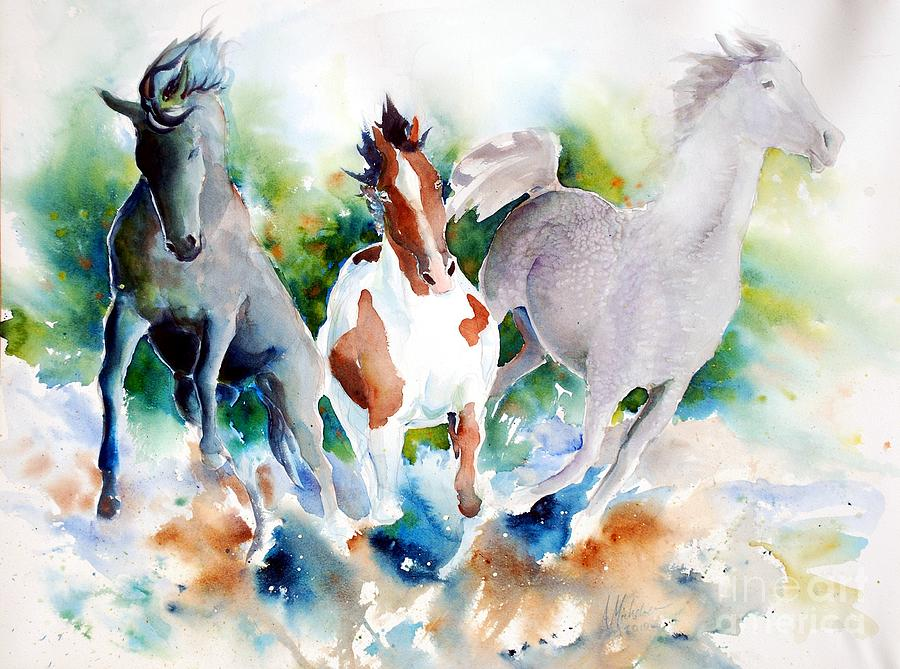 Horses Painting - Out Of Nowhere by Christie Michelsen