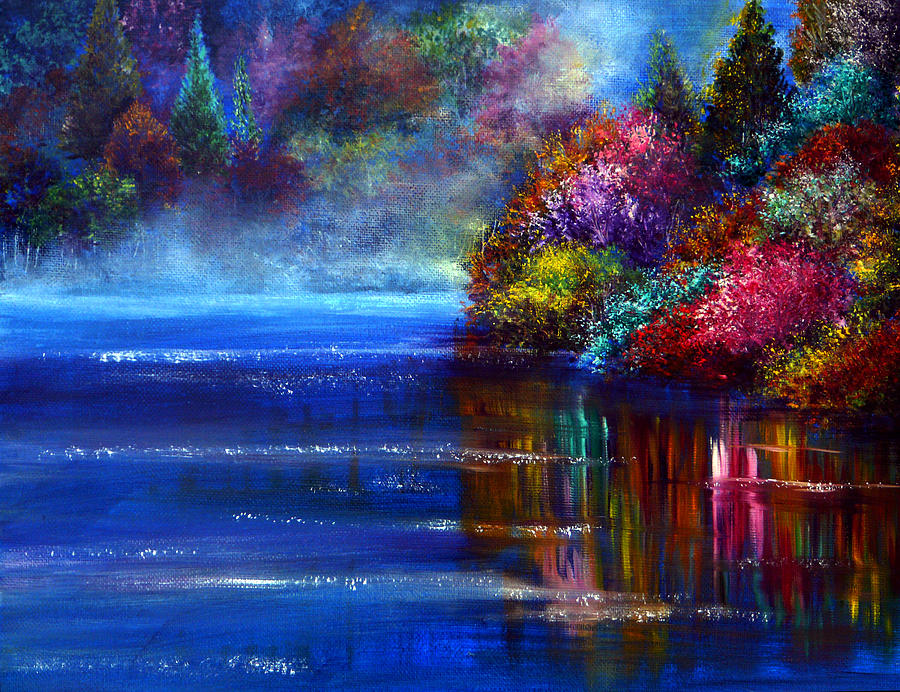 Hand Painted Painting - Out Of The Blue by Ann Marie Bone