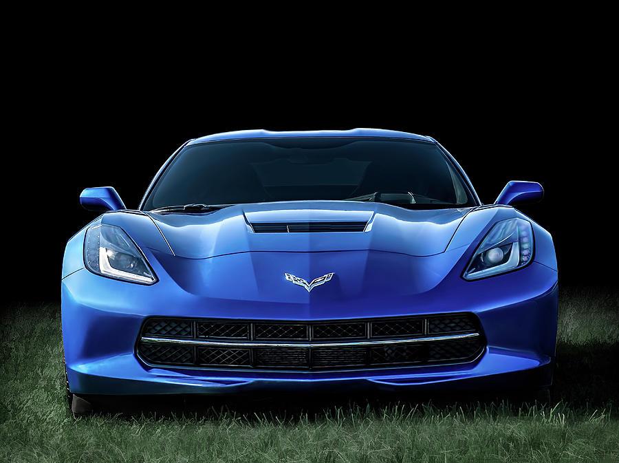 Corvette Digital Art - Blue 2013 Corvette by Douglas Pittman