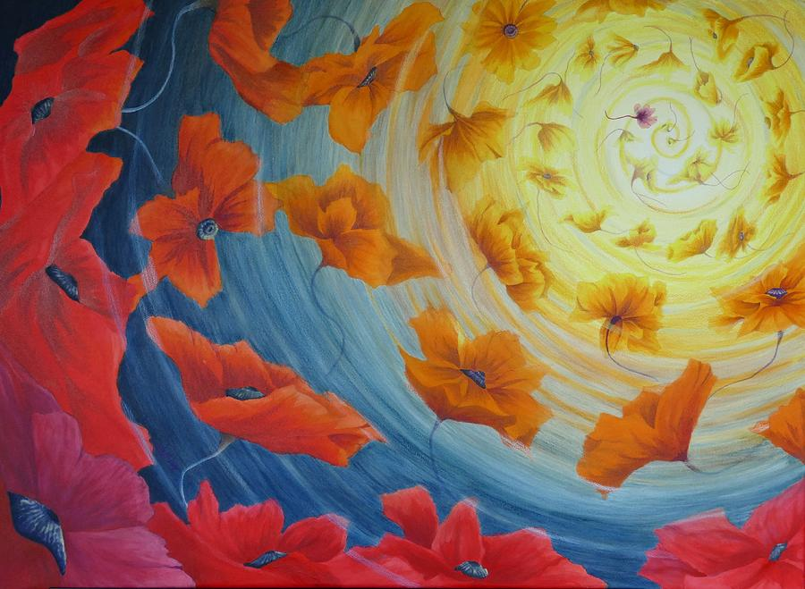 Floral Arrangements Painting - Out of the Blue by Lisa Gibson Art