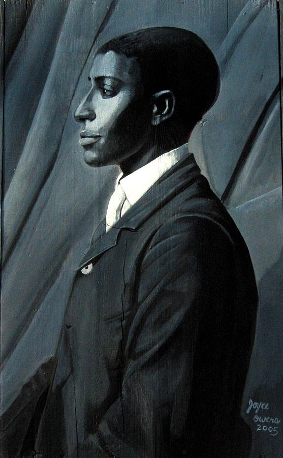 Portrait Painting - Out Of The Box Series Man In Plain  Tie by Joyce Owens