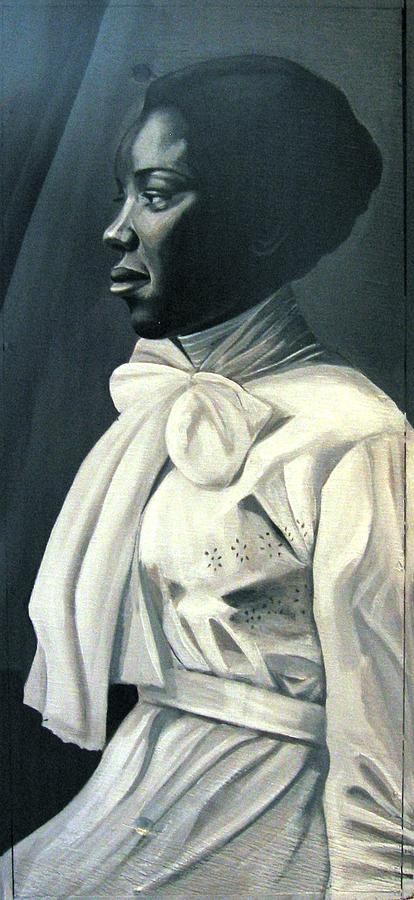 Portrait Painting - Out Of The Box Woman In Large White Bow  by Joyce Owens