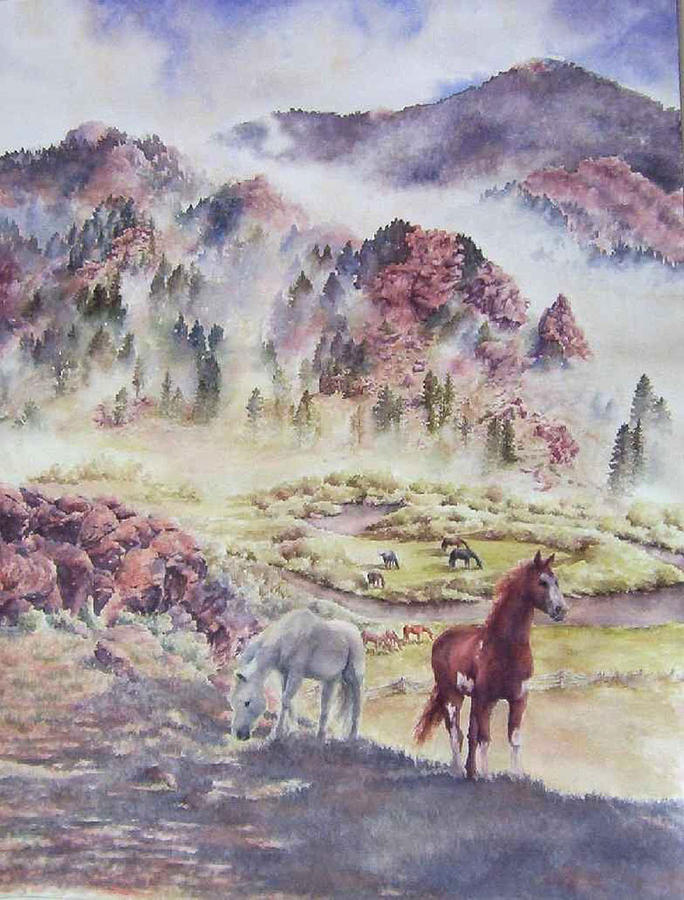 Horses Painting - Out Of The Mist by Barbara Widmann