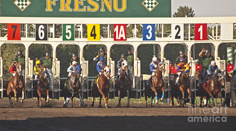 Equestrian Photograph - Out Of The Starting Gates by Mark Hendrickson
