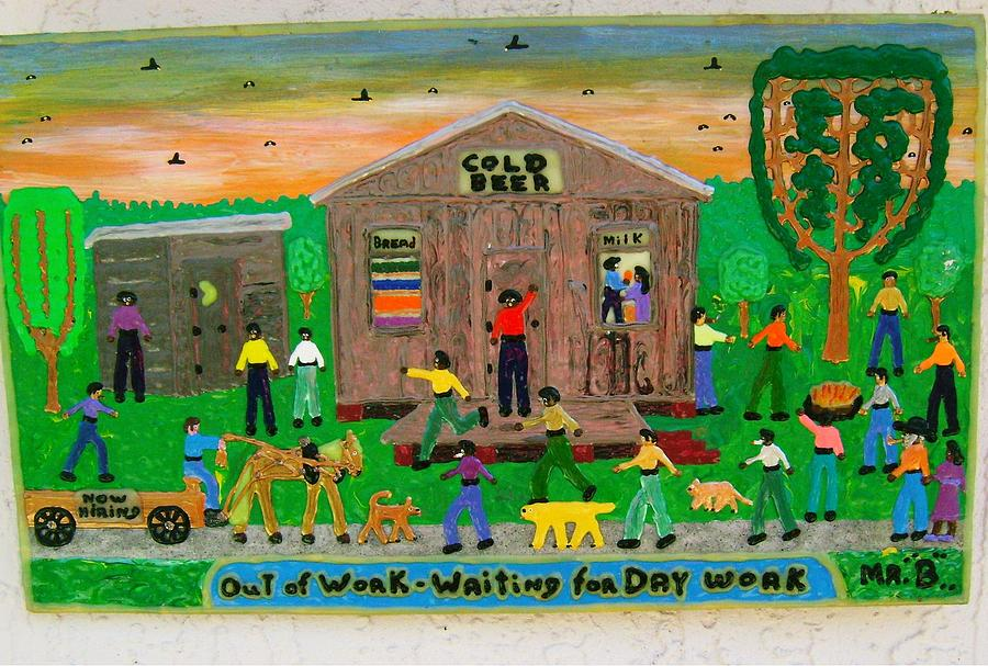 Puff Painting - Out Of Work - Waiting For Day Work by Jack Beverland