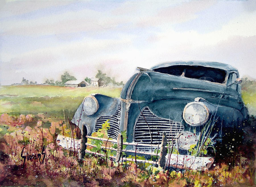 Classic Car Painting - Out To Pasture by Sam Sidders