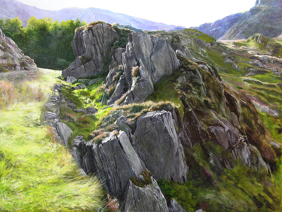 Landscape Painting - Outcrop In Snowdonia by Harry Robertson