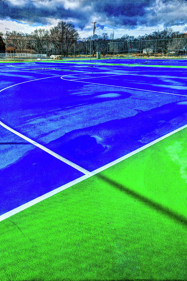 Outdoor Basketball Court 1 In Blue And Green Photograph
