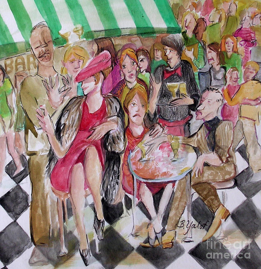 Restaurant Painting - Outdoor Cafe Attention by Barbara Yalof