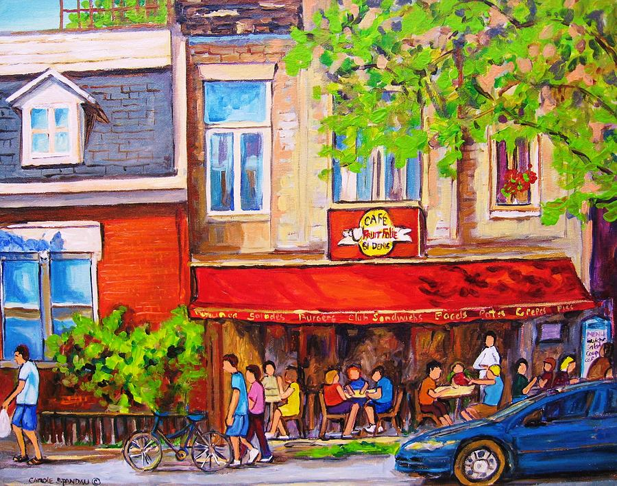 Montreal Painting - Outdoor Cafe by Carole Spandau
