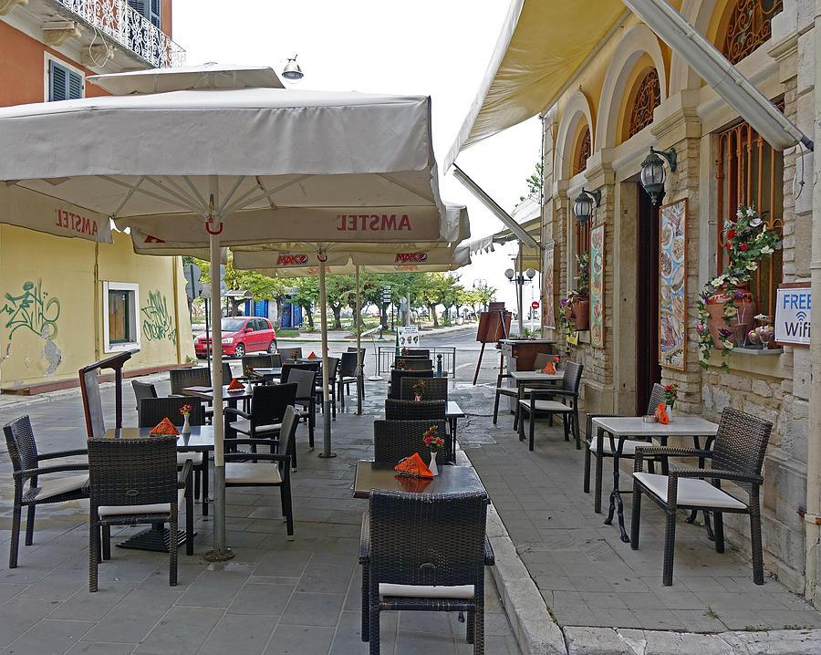 Outdoor Cafe In Corfu Greece Photograph