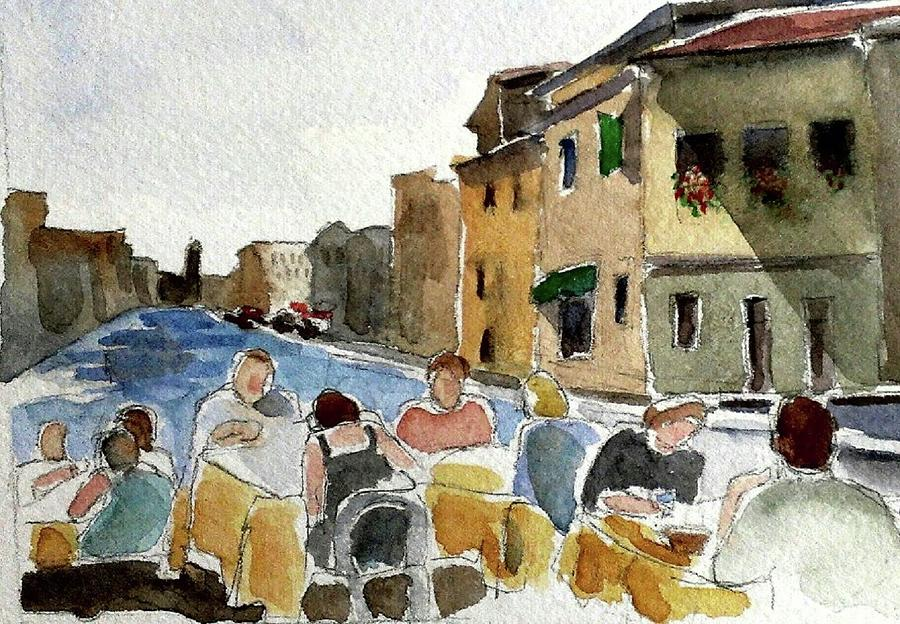 Watercolors Painting - Outdoor Lunch by Janet Butler