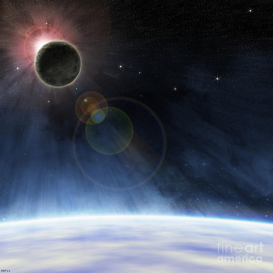 Earth Digital Art - Outer Atmosphere Of Planet Earth by Phil Perkins