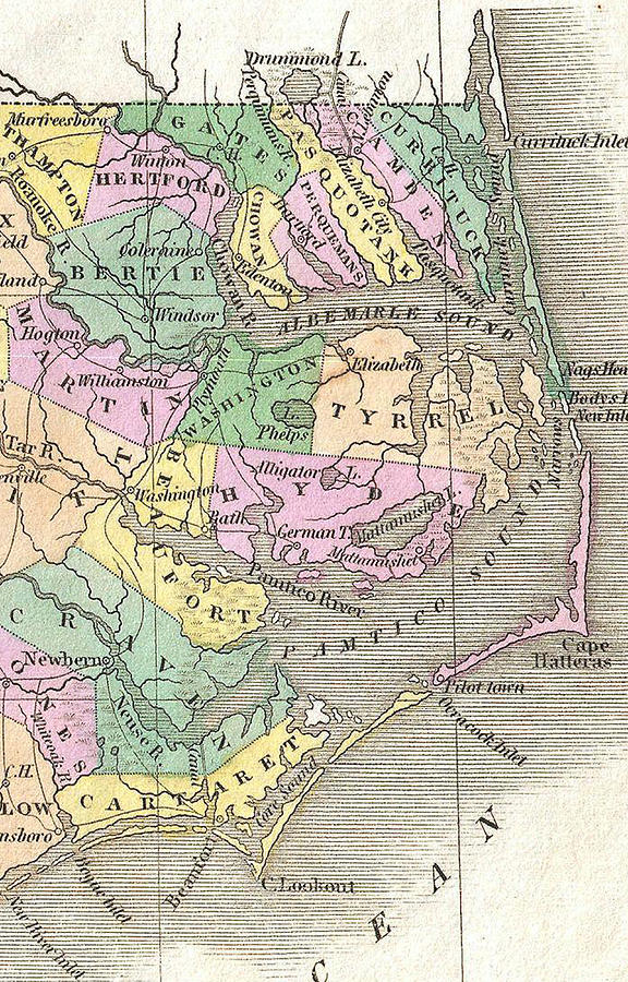 Outer Banks And Eastern North Carolina Map - 1827 by CartographyAssociates