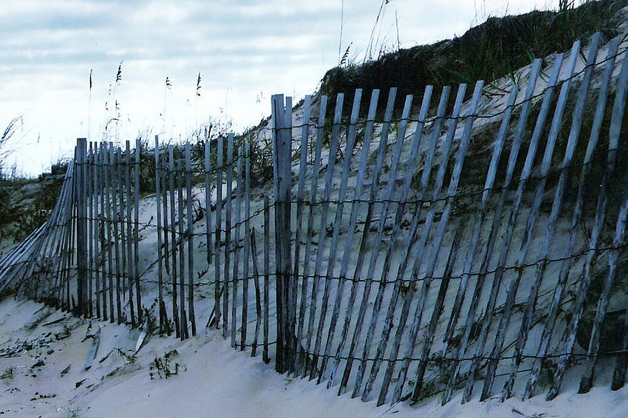 Sand Dune Fence Photograph - Outer Banks Nc Blue Fence by Oscar Duran