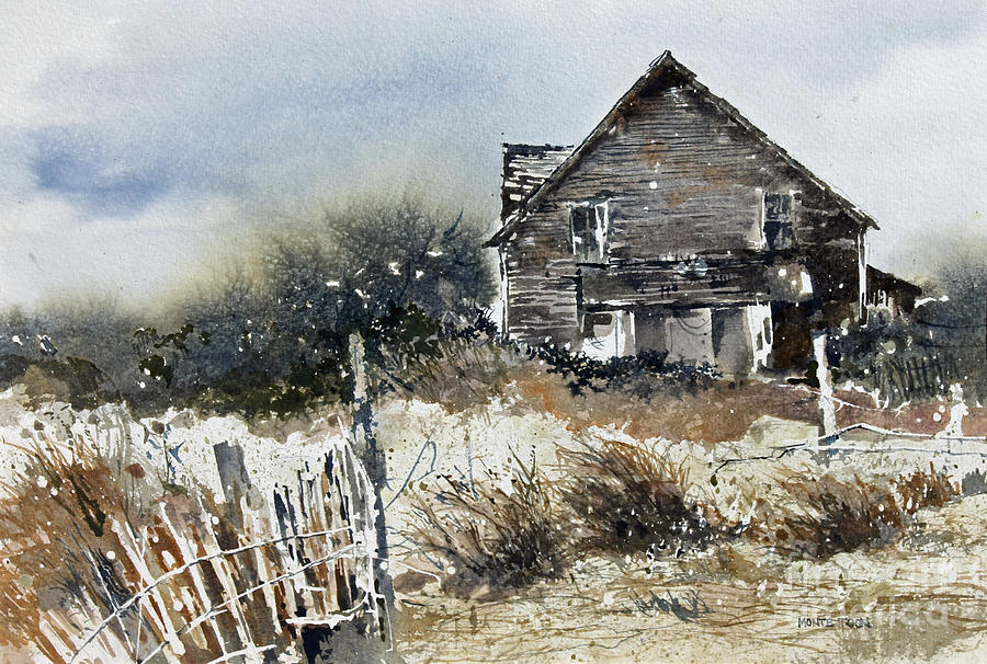 Outer Banks Shack Painting by Monte Toon