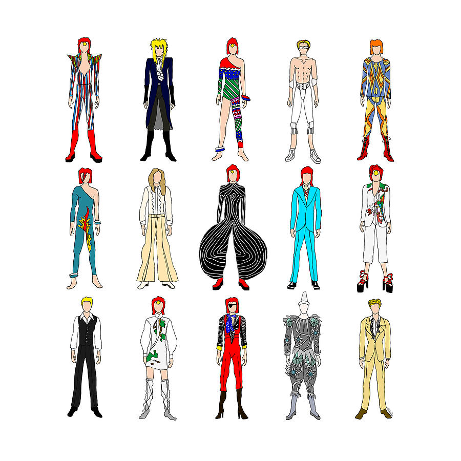 Bowie Digital Art - Outfits Of Bowie by Notsniw Art