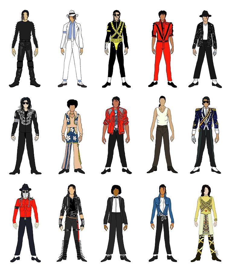 Michael Jackson Digital Art - Outfits of Michael Jackson by Notsniw Art