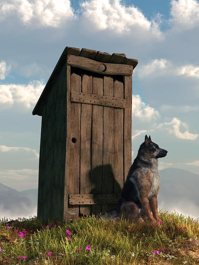 Outhouse Guardian - German Shepherd Version Digital Art by ...