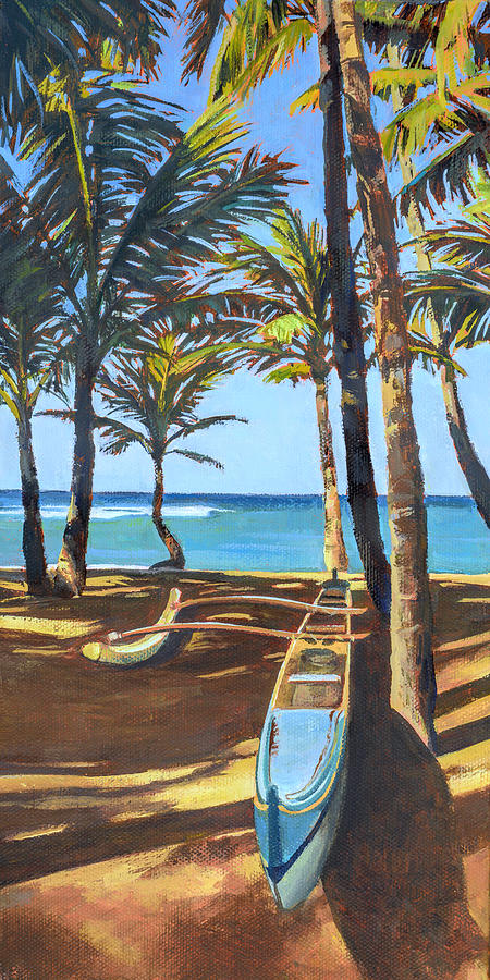 Outrigger Canoe Painting - Outrigger Canoe at Mamas Fish House by Stacy Vosberg