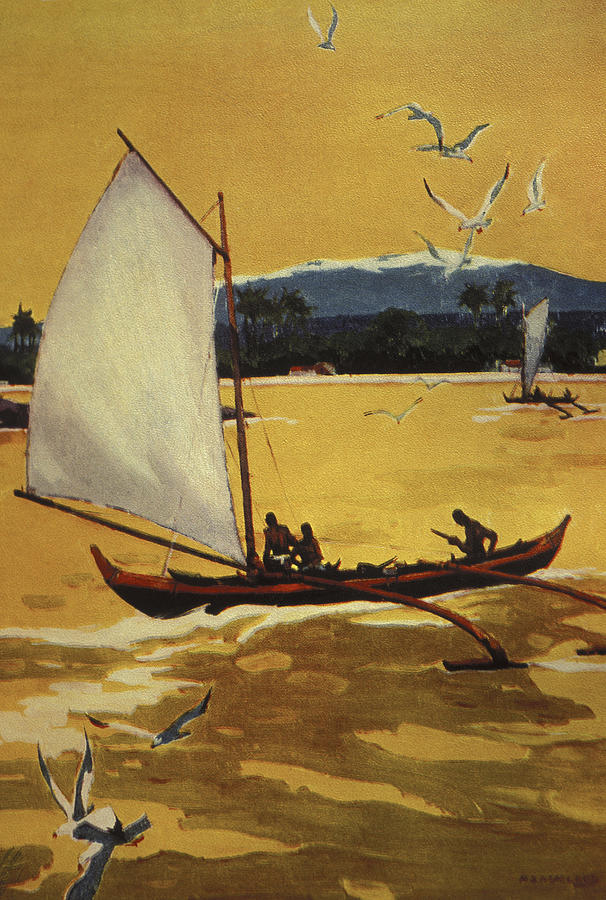 1922 Painting - Outrigger Off Shore by Hawaiian Legacy Archive - Printscapes