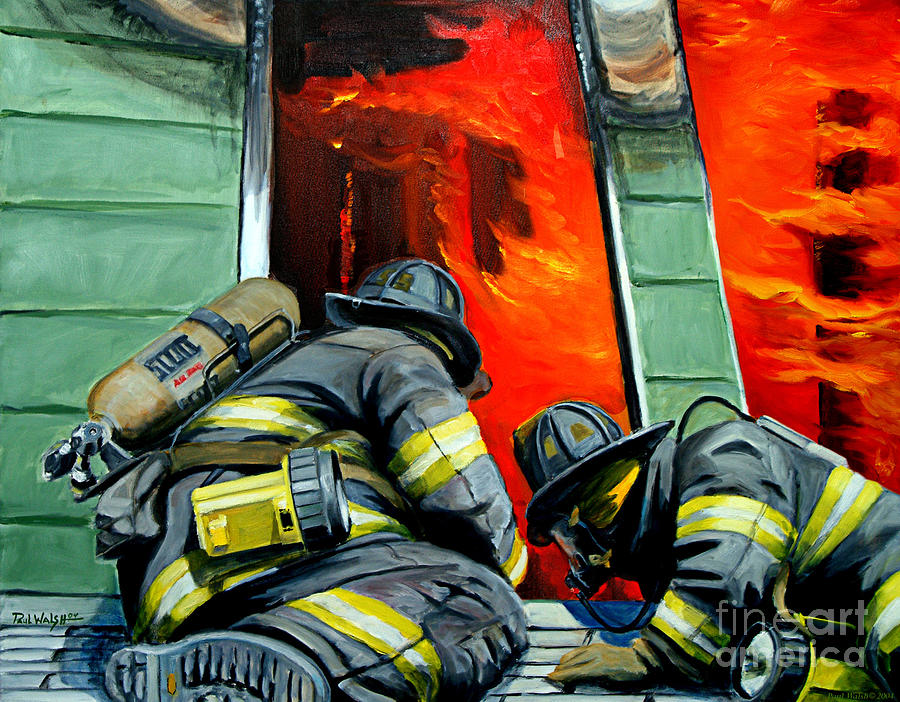 Firefighting Painting - Outside Roof by Paul Walsh