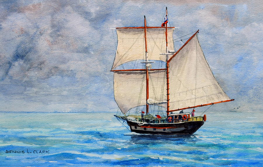 Sailing Painting - Outward Bound by Dennis Clark