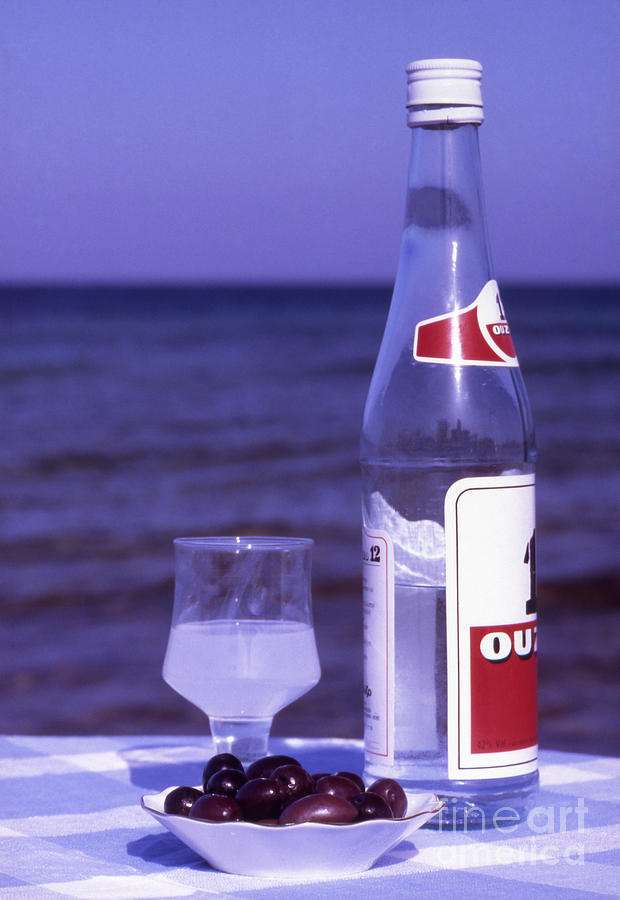Drink Photograph - Ouzo And Olives By The Sea by Steve Outram