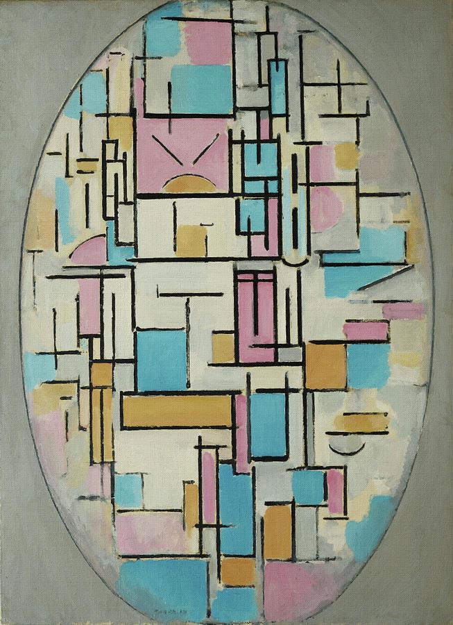 Piet Mondrian Painting - Oval Composition by Piet Mondrian