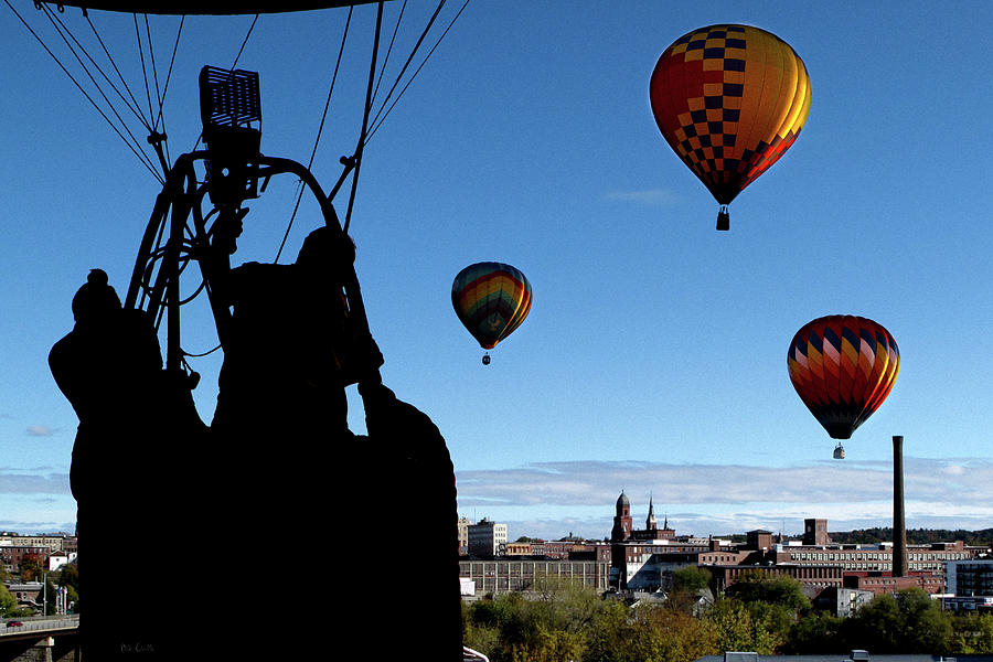 Bates Mill Photograph - Over Auburn And Lewiston Hot Air Balloons by Bob Orsillo