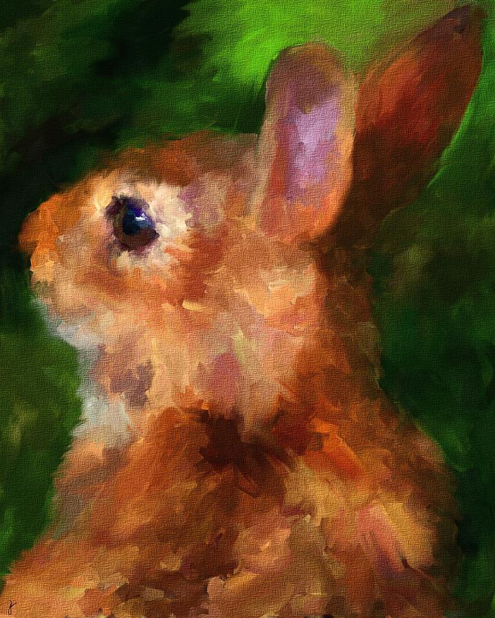 Rabbit Painting - Over My Shoulder by Jai Johnson