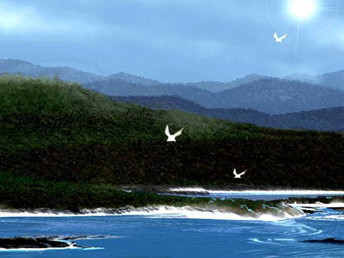 Marine Digital Art - Over Sea by Aline Pottier  Gama Duarte