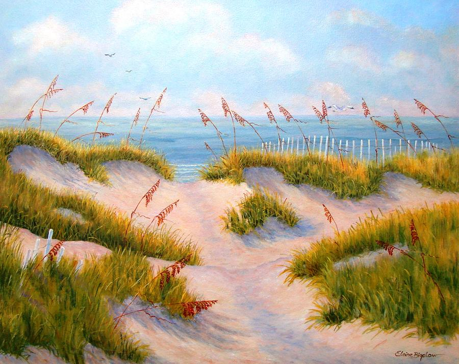 Ocean Painting - Over The Dunes by Elaine Bigelow