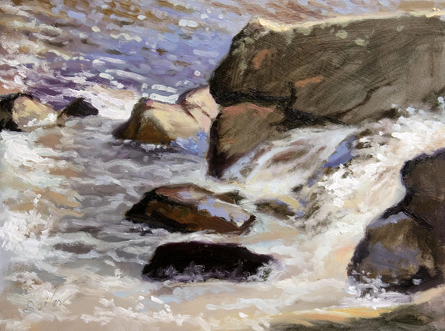 Plein Air Painting - Over The Edge- Strong Falls by Larry Seiler