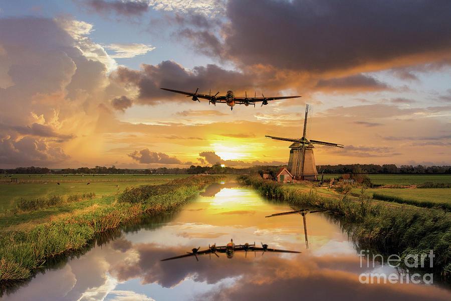 Lancaster Digital Art - Over The Mills by J Biggadike