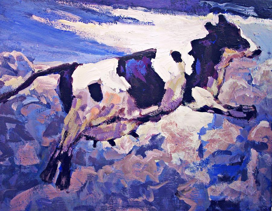Cow Painting - Over The Moon by Brian Simons