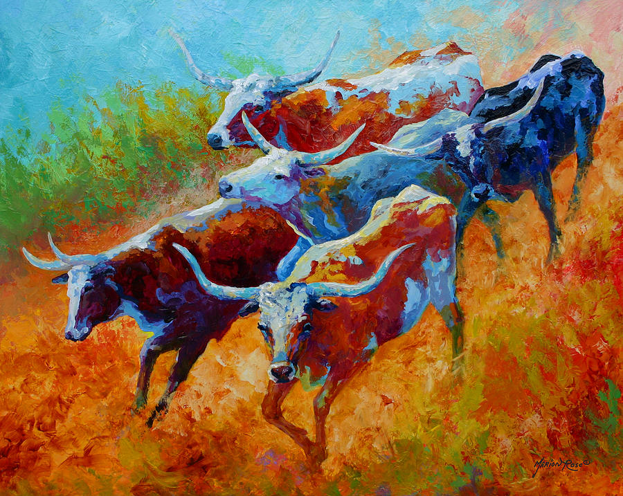 Western Painting - Over The Ridge - Longhorns by Marion Rose
