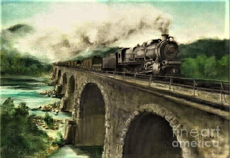Steam Engine Painting - Over the River by David Mittner
