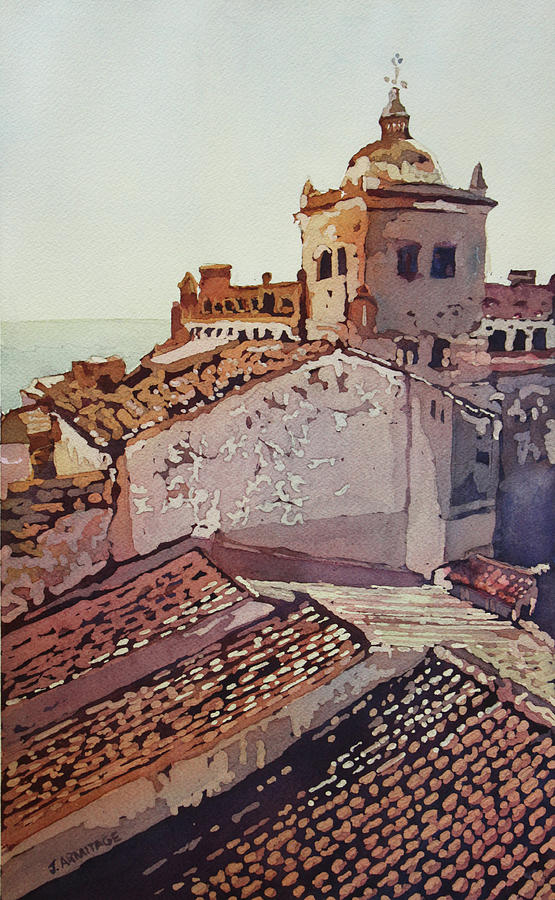 Europe Painting - Over The Rooftops, Caceres by Jenny Armitage