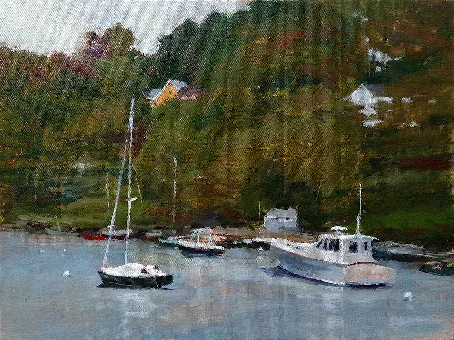 Landscape Painting - Overcast Day At Rockport Harbor by Peter Salwen