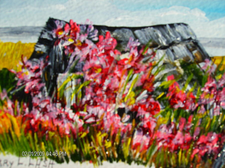 Red Roses Painting - Overgrown Rosebushes by Terry Lash
