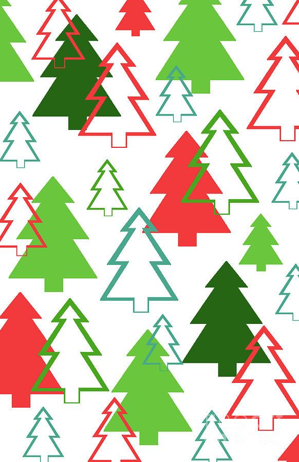 Christmas Trees Digital Art - Overlaid Christmas Trees by Louisa Knight