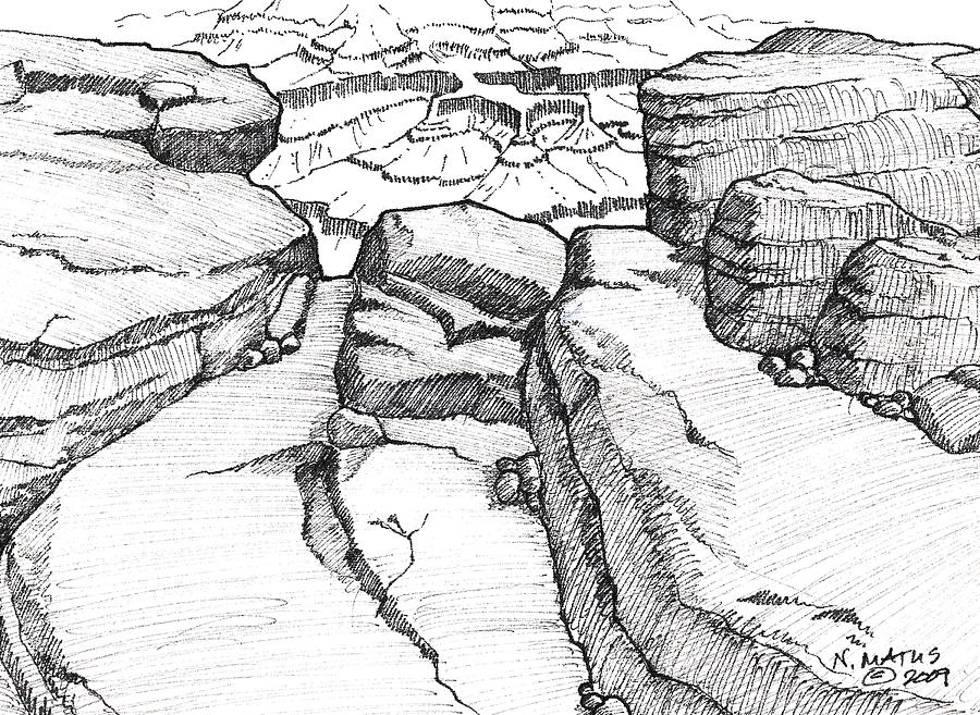 Canyon Drawing - Overlook by Nancy Matus