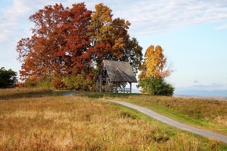 Autumn Photograph - Overlook Pavilion in Autumn by Jeff Severson