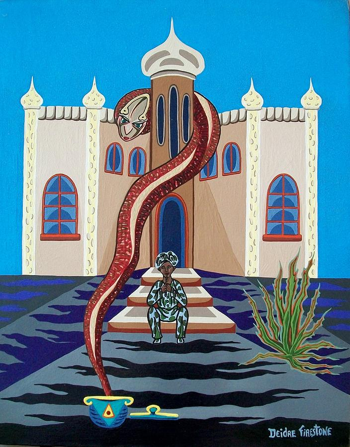 Cobra Snake Painting - Overlooked By Poisonous Terror by Deidre Firestone